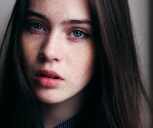 black hair, frekles, and pretty image