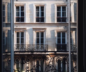 paris, window, and balcony image