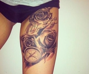 rose, compass, and tattoo image