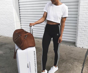 fashion, luggage, and outfit image