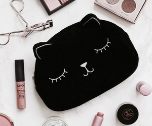makeup, beauty, and cat image