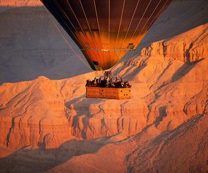 canyon, hot air balloon, and colors image