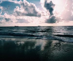 beach, clouds, and reflection image