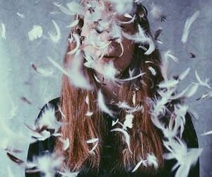 feather, girl, and grunge image