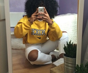 nike, hair, and yellow image