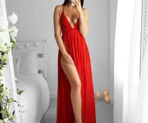 classy, fashion, and red dress image