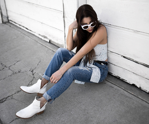fashion blogger, street style, and white boots image