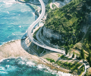 road, ocean, and nature image