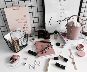 desk, makeup, and organization image