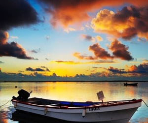 boat, clouds, and sea image