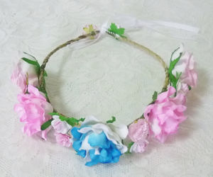 etsy, red rose, and pink flower crown image