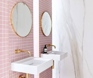 bathroom, house, and pink image