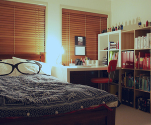 bedroom, room, and books image