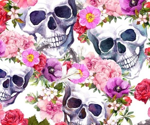 flowers and skulls image
