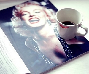 coffee, Marilyn Monroe, and magazine image