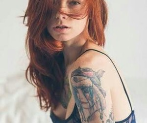 girl, tattoo, and redhead image