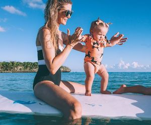 family, baby, and beach image