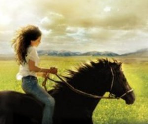 girl, horse, and field image