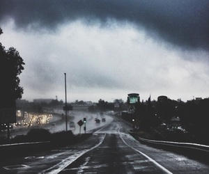 road, dark, and rain image