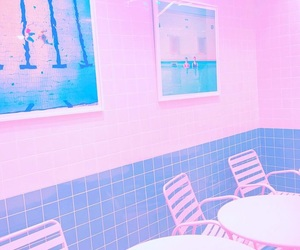 blue, cafe, and pink image