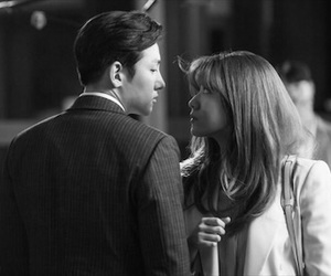 black, black and white, and suspicious partner image