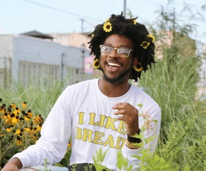 aesthetic, black boy, and flowers image