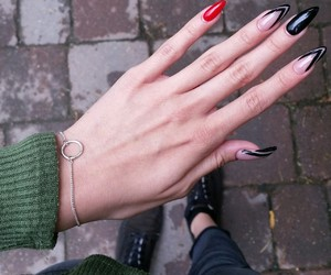 black nails, long nails, and manicure image