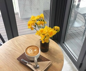 yellow, coffee, and flowers image