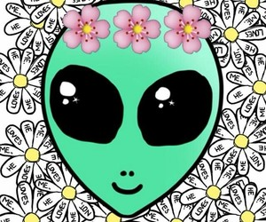 alien, flowers, and wallpaper image