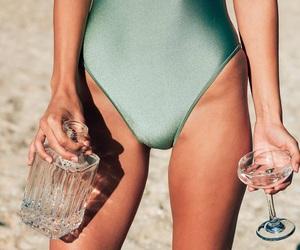 beach, sand, and swim suit image