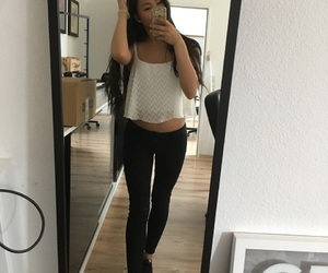 black white, fashion, and outfit image