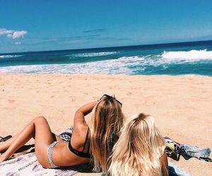 beach, best friends, and bikini image