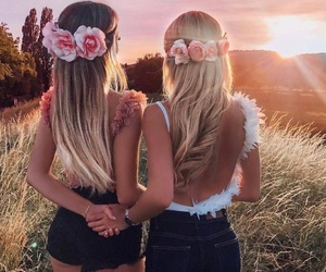 friends, flowers, and hair image