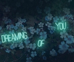 dreaming, flower, and neon image