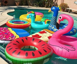 mermaids, pool party, and summer image