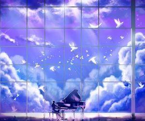 piano, beautiful, and birds image