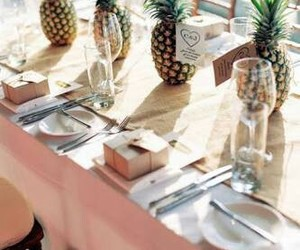 decor, pineapple, and table image
