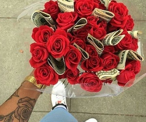 money, rose, and flowers image