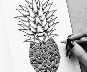 draw, tatto, and pineapple image