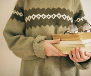 book, glasses, and sweater image