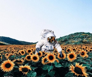 astronaut, flowers, and planets image