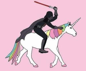 star wars, unicorn, and darth veader image