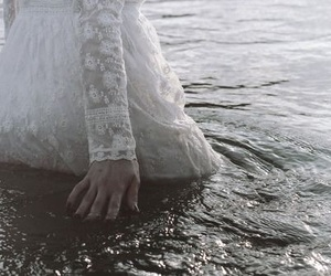 girl, water, and white image