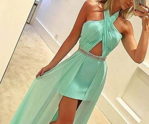 homecoming dresses, halter prom dress, and mint prom dress image