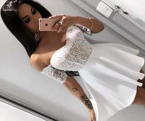 dress, iphone, and selfie image
