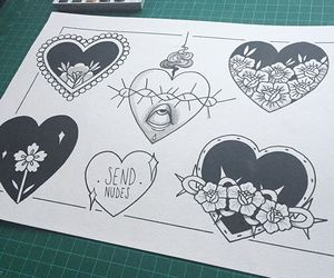 flowers, hearts, and ink image