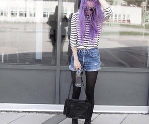 hair, grunge, and purple hair image