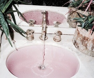 pink, water, and sink image