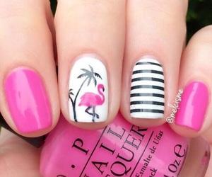 nails, girl, and flamingo image