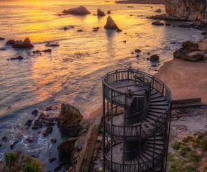 staircase, sunset, and beach image